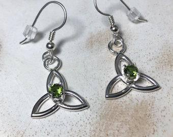 Celtic Knot Amethyst Peridot Emerald Earrings in Sterling Silver, Gifts For Her, Irish Earrings, Dangle Drop Earrings, Celtic Weddings