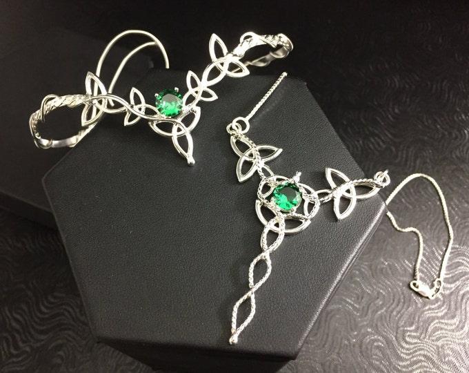 Celtic Knot Bridal Wedding Jewelry Set In 925, Artisan Emerald Tiara, Earrings, Upper Arm Cuff, Celtic Knot Necklace, Celtic Bridal Wedding