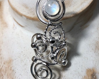 Art Nouveau Victorian Celtic 925 Silver Ring, Bohemian Statement Ring in Sterling Silver, Abstract Swirl Ring with 8mm Faceted Gem, Celtic