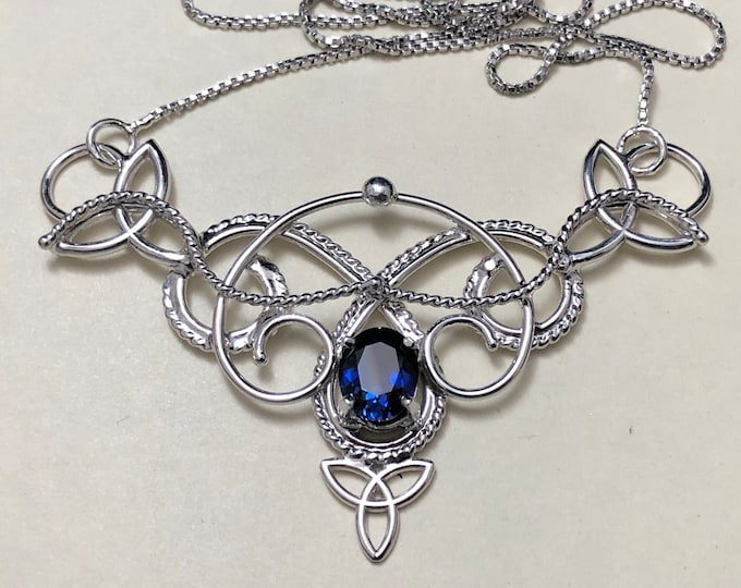 Celtic Knot Sapphire Necklace in Sterling Silver, Handmade Celtic Renaissance Necklace, Scottish Wedding Necklaces, Gifts For Her