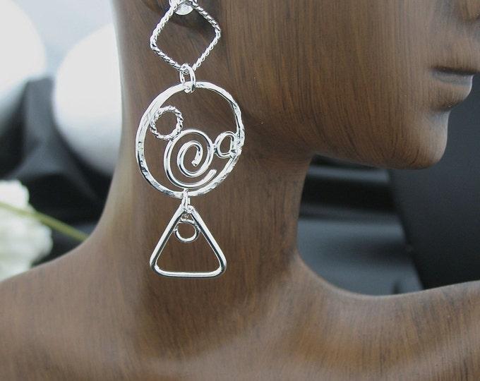 Abstract Geometric Dangle Drop Earrings, Bohemian Silver Work Drop Earrings, Abstract Sterling Silver Earrings, Freeform Abstract Earrings