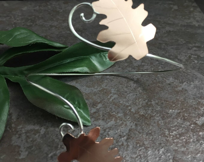 Oak Leaf Armlet, Upper Arm Cuff, Fall Leaves Copper and Sterling Silver Upper Armlet, Mixed Metals Arm Cuff Bracelet,  OOAK