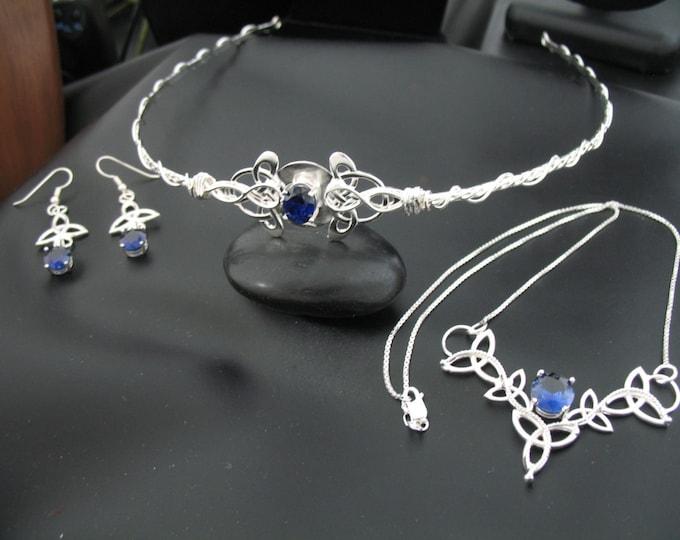 Celtic Wedding Bridal Set, Irish Victorian Wedding Circlet, Celtic Necklace, Celtic Earrings, OOAK Handmade Wedding Jewelry Sterling