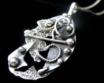 Celestial Abstract 925 Pendant Necklace with Sterling Box Chain, Handmade Sterling Silver, Whimsical Bohemian Necklaces