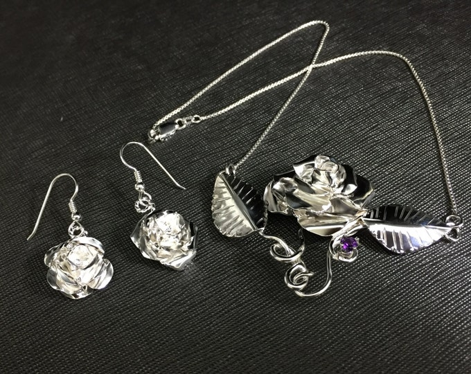 Rose Necklace and Earring Set Sterling Silver, Artisan Victorian Rose Necklace, Handmade Rose Earrings Sterling Silver, Floral Jewelry Sets