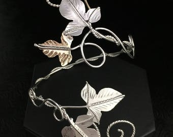 Woodland Ivy Leaf Wrap Bracelet Cuff, Sterling Silver and Gold Filled Rustic Leaves, Autumn, Handmade in Sterling Silver