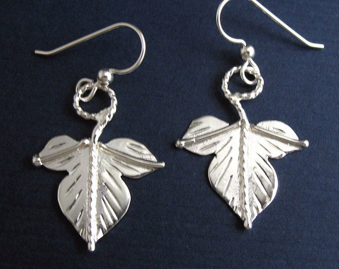 Dangle Leaf Earrings with Ear Wires, Woodland Autumn Leaf Earrings, Ivy Handmade Dangle Leaf Earrings, Sterling 925
