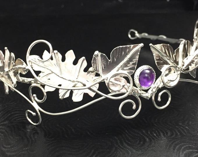 Woodland Wedding Gemstone Tiaras in Sterling Silver, Ivy Leaves Circlets, Artisan Handmade Woodland Bridal Tiaras, Diadem