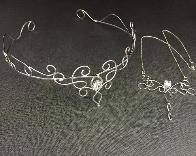 Bridal Set Featuring a Matching Tiara and Necklace and Bracelet Cuff, Victorian Bohemian Inspired Circlets with Gemstones