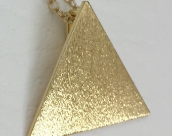Stevie Nicks Inspired Pyramid 925 and Gold Plated Pendant, 16 Inch GOLD-FILLED curb chain,  Solid 20 gauge triangle pendant, Boho chic style