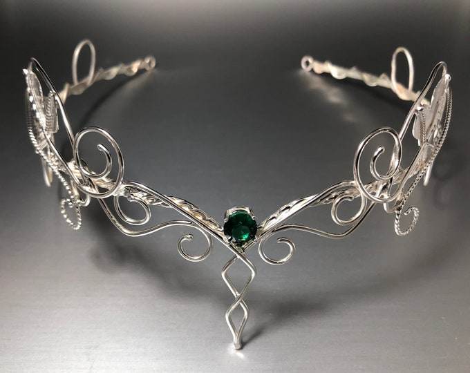 Woodland Amethyst White Topaz Aquamarine Elvish Circlet in Sterling Silver, Artisan Leaf Woodland Tiara, Handmade Bridal Accessories