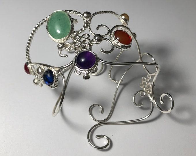 Gemstone Wide Forearm Bracelet, Thanos Inspired Feminine Gauntlet Style Wide Bracelet, Artisan Handmade Sterling Silver Bracelets