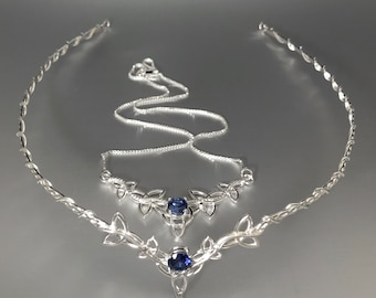 Celtic Knot Bridal Sapphire, Aquamarine, Amethyst, Peridot Tiara Necklace Combo, Gifts for Her, Bridal Accessories