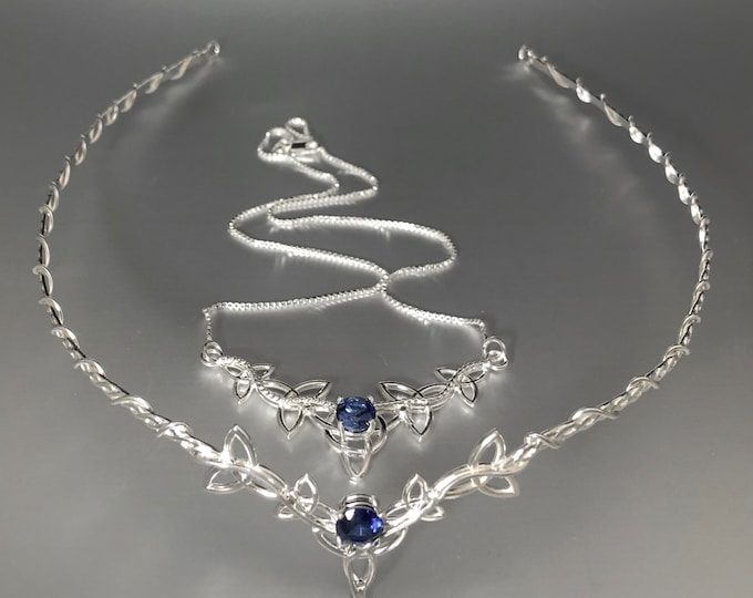 Celtic Knot Bridal Set Sapphire Emerald  Aquamarine, Amethyst, Peridot Tiara Necklace Combo, Gifts for Her, Bridal Accessories