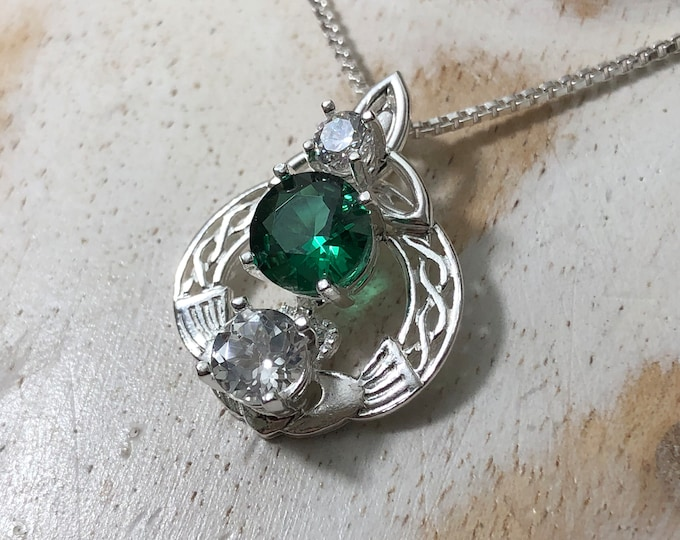 Celtic Knot Gemstone Necklace in Sterling Silver with Box Chain, Irish Claddagh Symbolic Jewelry, Gift for Her, Birthday