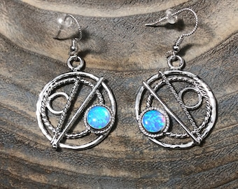 Blue Opal Hoop Earrings in Sterling Silver, Celestial Earrings, Artisan Silver Circle Earrings, Eternity Circle Double Hoop Earrings
