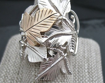 Mixed Metals Woodland Leaf Ring, Statement Rings, Gifts For Her, Sterling Silver 14K Gold-Filled Handmade artisan rings, Rustic Leaf Rings