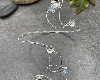 Upper Arm Woodland Vine, Amethyst, Peridot, White Topaz  Leaf Bracelet Wrap, Arm Cuff, Arm Bracelet, OOAK Sterling Silver Wrap Jewelry