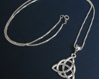 Celtic Necklaces, Charmed Trinity Eternity Knot Necklace in Sterling Silver with 18 Inch Box Chain, Irish Necklaces, Symbolic Celtic Jewelry