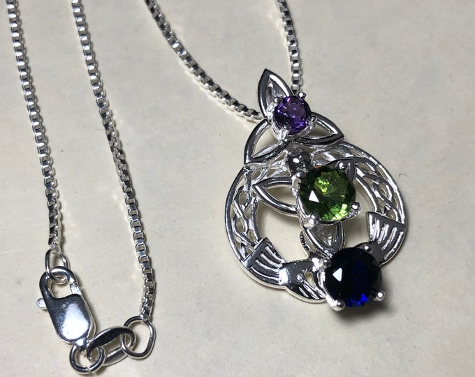 Claddagh Gemstone Irish Necklace in Sterling Silver, Gifts For Her, Celtic Knot Symbolic Jewelry, Gift for Her, Birthday