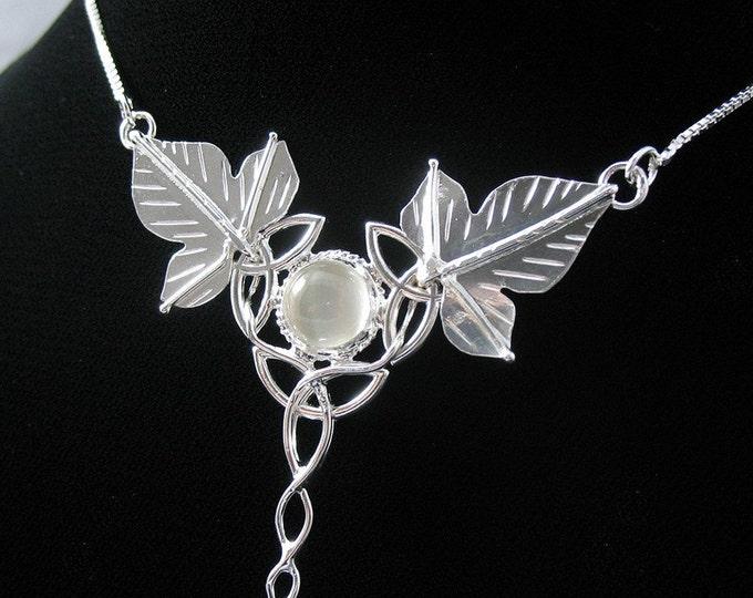 Bohemian Woodland Leaf Moonstone Necklaces, Art Nouveau Necklace, Fae Celtic Ivy Leaf Moonstone Pendant Necklace, Sterling