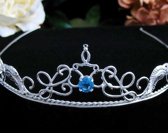 Elvish Sterling Silver Bridal Wedding Tiara Headpiece with Blue Topaz