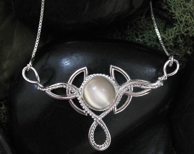 Celtic Trinity Knot 8mm Gemstone Pendant Necklace, 18 Inch Box Chain, Handmade, Sterling Silver, Handmade