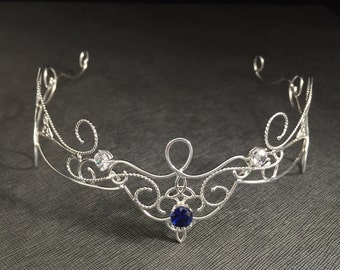 Circlets, Bridal Gemstone Renaissance Tiara in Sterling Silver, Bohemian Celtic Knot Circlet, Princess Tiara, Alternative Bridal Accessories