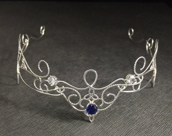 Circlets, Bridal Gemstone Renaissance Tiara in Sterling Silver, Bohemian Celtic Knot Circlet, Princess Tiara, Alternative Bridal Accessories