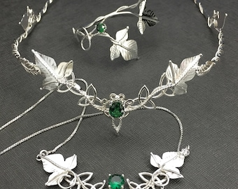 Woodland Wedding Tiara, Bracelet, Necklace in Sterling Silver, Waldorf Fairytale Wedding Circlet, Necklace, Bohemian Wedding Bracelet Set