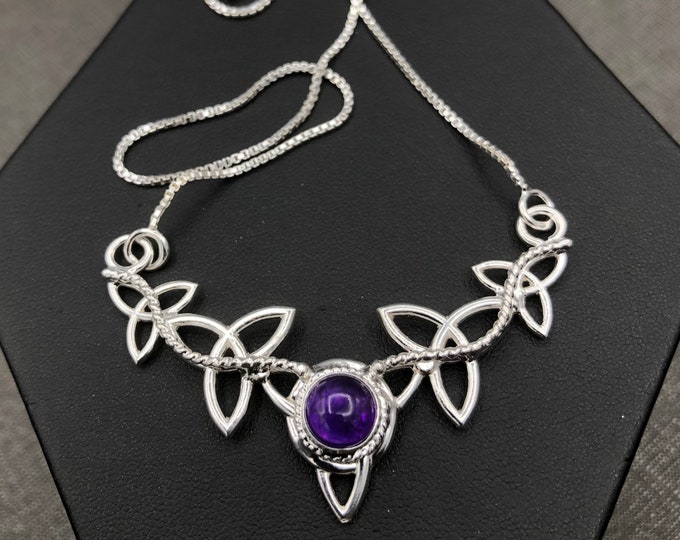 Celtic Trinity Knot Amethyst Necklace in Sterling Silver, Gifts For Her, Irish Necklace, Gaelic Jewelry, 925