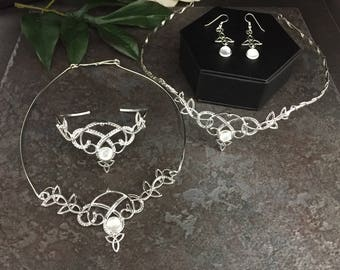 Celtic Wedding Irish Tiara Bridal Set, Celtic Circlet Tiara, Irish Necklace, Earrings Set, Genuine MOONSTONE Wedding Set