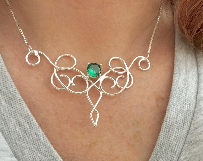 Bohemian Emerald Necklace Sterling Silver, Gifts For Her, Elvish Necklaces, Gifts For Her, Artisan Handmade