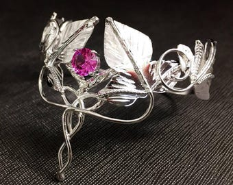 Woodland Leaf Gemstone Bracelet Cuff, Sterling Silver Celtic Leaf Cuff Bracelet, OOAK handmade cuff bracelet, Fae Woodland Bracelet Cuff
