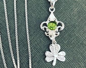 Shamrock Gemstone Necklace with 18 inch Box Chain, Irish Celtic Shamrock Necklace, Amethyst Celtic Boho Necklace