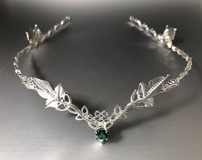 Woodland Wedding Emerald Tiara in Sterling Silver, Celtic Circlets, Artisan Bridal Headpieces, Alternative Bride, Accessories