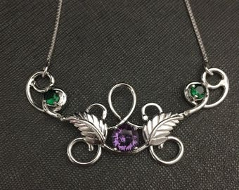 Woodland Leaf Elvish Necklace with Emerald and Amethyst in Sterling Silver, Bohemian Necklaces, Gifts For Her