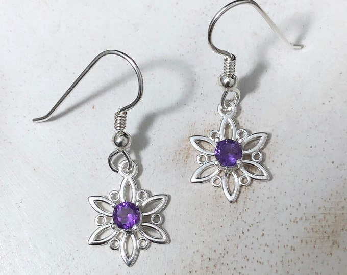 Petite Small Snowflake Amethyst Earrings in Sterling Silver, Gifts For Her, Winter Earrings with GemstonesCute Earr