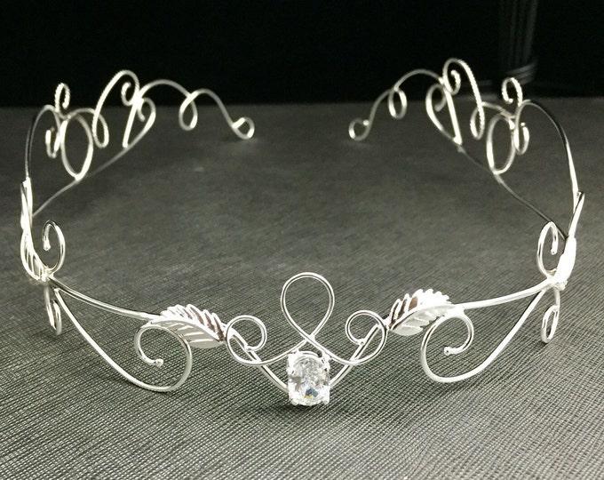 Elvish Bridal Tiara in Sterling Silver, Bridal Circlets, Sterling Silver Artisan Wedding Tiara, Handmade Sterling Silver Tiara