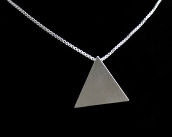 Sterling Silver Pyramid Pendant Necklace 18 inch Sterling Silver Box Chain, Handmade Triangle Pendant, Egyptian Pyramid, Symbolic Jewelry