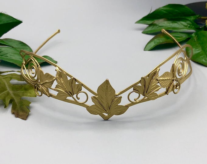 Woodland Tiara in Sterling Silver With 24K Gold Plating, Leaf Headpiece, Handmade Bridal Accessories, Gifts For Her, Alternative Bride