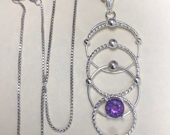 Bohemian Hoop Circle Necklace in Sterling Silver, Celestial Statement Bohemian Necklace with Gemstone, Artisan OOAK