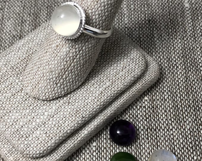 Simple Boho Gemstone Sterling Silver ring, Sterling Silver Gemstone Ring, Handmade Sterling Silver Ring, Simple Gemstone Ring