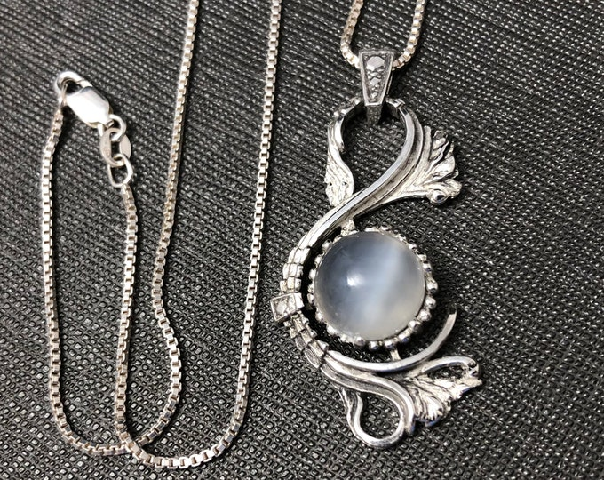 Victorian Moonstone Necklace, Gifts For Her, Treble Clef Musical Note Necklace, 12mm Cabochon Gemstone, Swan Necklace, Bohemian Necklaces