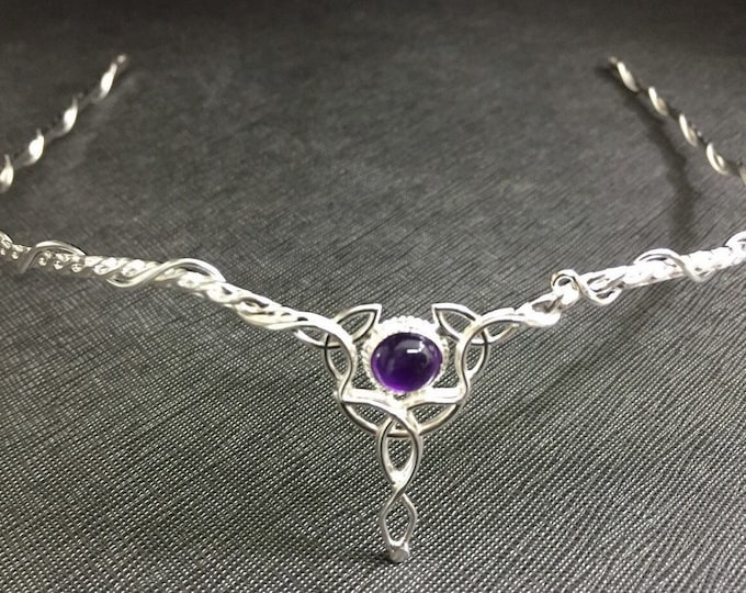 Celtic Bridal Tiara with 8mm Amethyst, Moonstone, Sapphire in Sterling Silver, Diadems, Irish Circlet, Gifts For Her