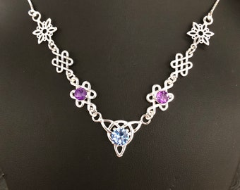 Celtic Knot Necklace Amethyst and Aquamarine in Sterling Silver, Scottish Necklaces, Irish Jewelry, Gifts for Her, Symbolic Jewelry
