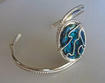 Blue Paua Shell Bracelet Cuff in Sterling Silver, Handmade, Celestial Cuff Bracelets, Wire Wrapped Gemstone Bracelets