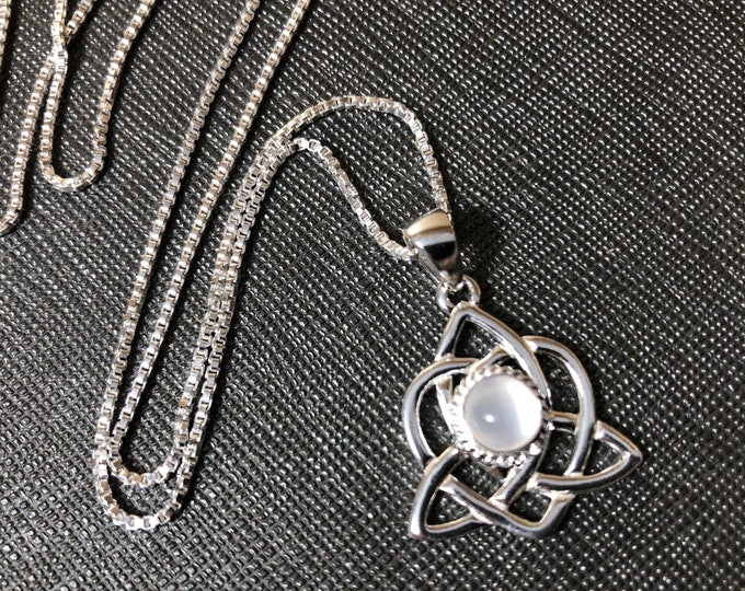 Celtic Sisters Knot Necklace, Moonstone Necklace, Irish Gemstone Necklace, 925 Box Chain, Charmed TV Show, Celtic Knotwork Necklaces