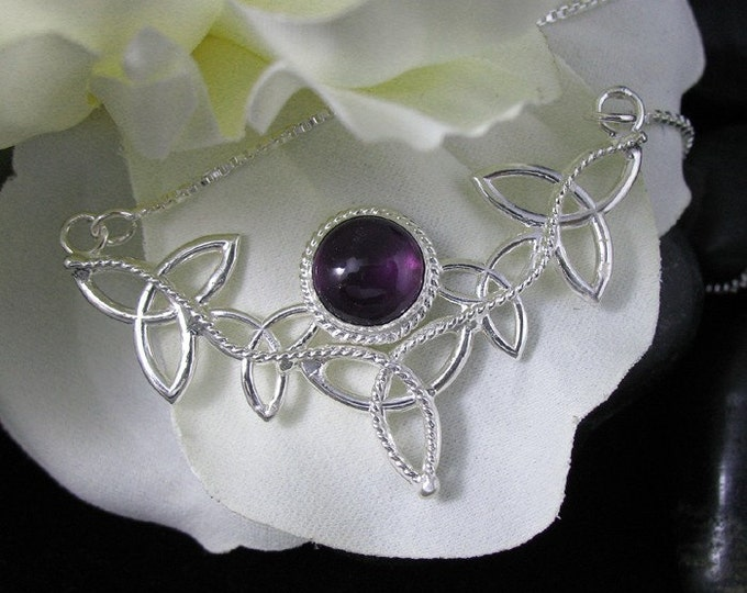 Amethyst Celtic Knot Necklace in Sterling Silver, Gifts For Her Celtic Necklace, Irish Jewelry, Irish Wedding