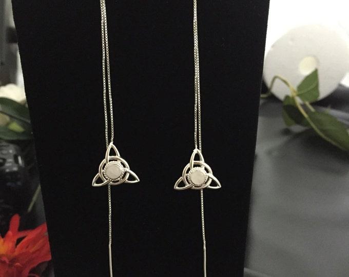 Celtic Gemstone Needle Thread Sterling Silver Earrings. Ear Threads, Long Ear Threads, Handmade, 9 inches Long, 925, Ear Thread Earrings